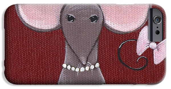 Mouse iPhone Cases - The Socialite  iPhone Case by Christy Beckwith