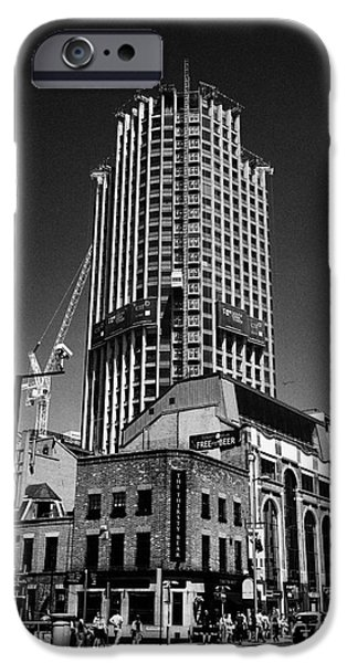 Brutalist iPhone Cases - the south bank tower formerly kings reach tower undergoing redevelopment London England UK iPhone Case by Joe Fox
