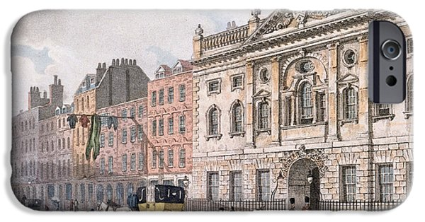 Guild iPhone Cases - The South Front Of Ironmongers Hall, From R. Ackermanns Repository Of Arts 1811 Colour Litho iPhone Case by English School