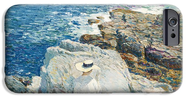 Childe iPhone Cases - The South Ledges iPhone Case by Childe Hassam