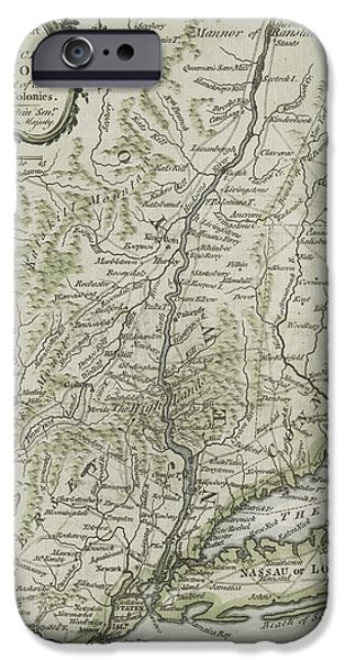 Maps Paintings iPhone Cases - The southern part of the Province of New York iPhone Case by Thomas Kitchin