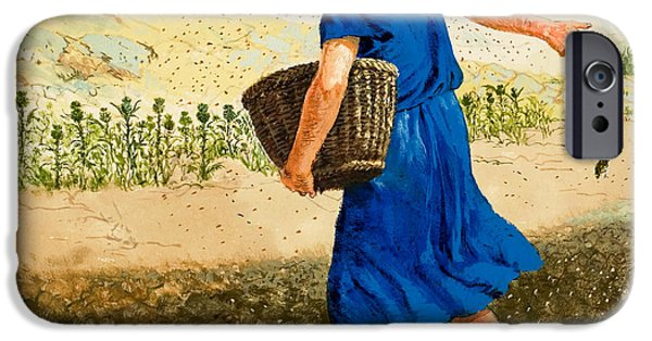 Metaphor iPhone Cases - The Sower of the Seed iPhone Case by Clive Uptton