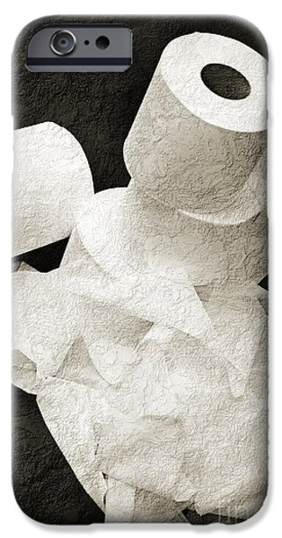 Ply iPhone Cases - The Spare Rolls 1 - Toilet Paper - Bathroom Design - Restroom - Powder Room iPhone Case by Andee Design