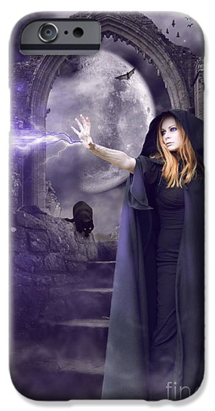 Witch Halloween Cat Wicca iPhone Cases - The Spell is Cast iPhone Case by Linda Lees