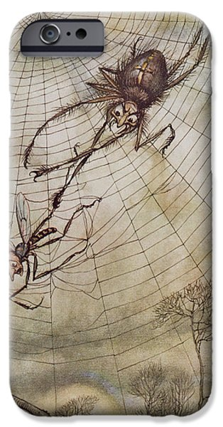 Fable iPhone Cases - The Spider and the Fly iPhone Case by Arthur Rackham