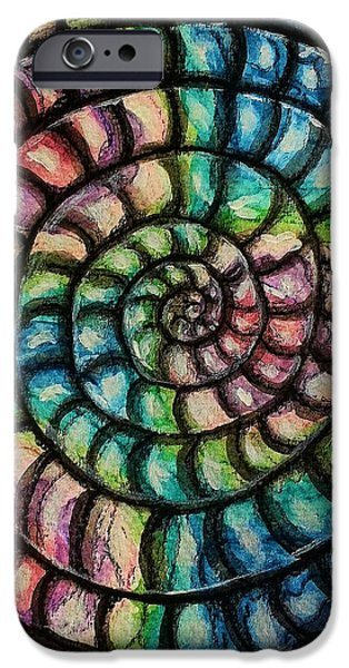 Spiral Mixed Media iPhone Cases - The Spiral iPhone Case by Mimulux patricia no