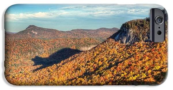 Tree Art Print iPhone Cases - North Carolina Autumn Mountain Bear Shadow NC iPhone Case by Dave Allen