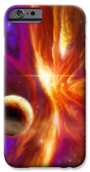 Star System Paintings iPhone Cases - The Spirit Realm of the Saphire Nebula iPhone Case by James Christopher Hill