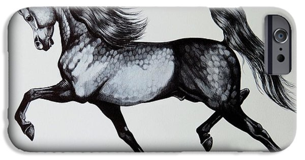 Drawing Of A Horse iPhone Cases - The Spirited Arabian Horse iPhone Case by Cheryl Poland