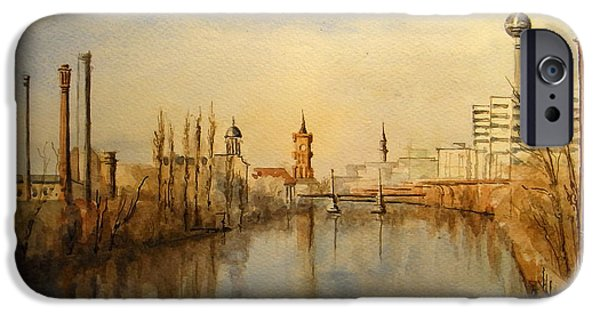 Berlin Paintings iPhone Cases - The Spree Berlin iPhone Case by Juan  Bosco