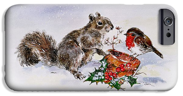 Berry iPhone Cases - The Squirrel And The Robin iPhone Case by Diane Matthes