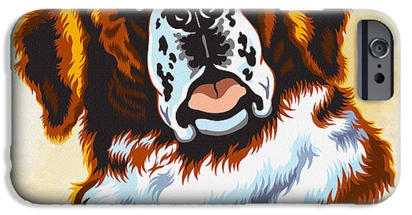 Scottish Terrier Digital Art iPhone Cases - The St. Bernard or St Bernard iPhone Case by Don Kuing
