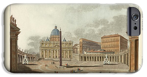 Architektur Drawings iPhone Cases - The St. Peters Cathedral in Rome iPhone Case by Splendid Art Prints
