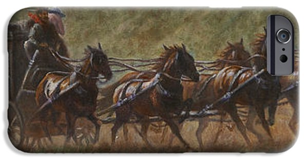Western Art Digital Art iPhone Cases - The Stage Coach iPhone Case by Gregory Perillo