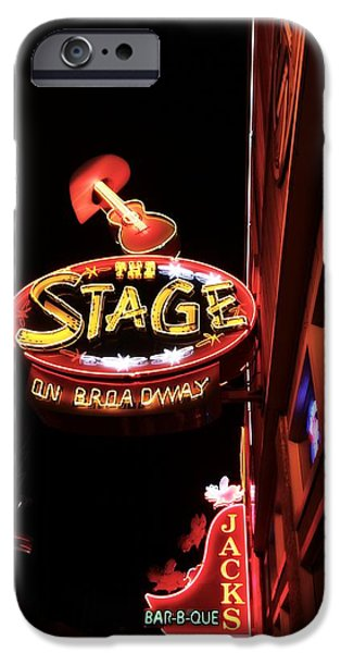 The Cowboy iPhone Cases - The Stage On Broadway In Nashville iPhone Case by Dan Sproul