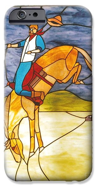 Print Glass iPhone Cases - The Stained Glass Cowboy Riding Out The Bucks iPhone Case by Patricia Keller