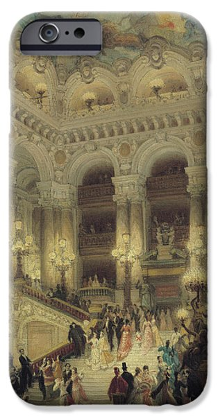 Night Lamp iPhone Cases - The Staircase of the Opera iPhone Case by Louis Beroud
