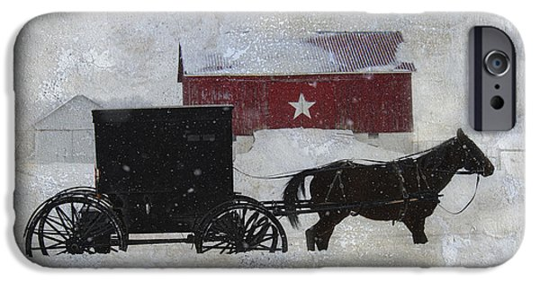 Horse And Buggy iPhone Cases - The Star Barn in Winter iPhone Case by David Arment