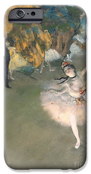 Tutus Paintings iPhone Cases - The Star or Dancer on the stage iPhone Case by Edgar Degas