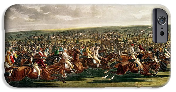 The Horse iPhone Cases - The Start of the Memorable Derby of 1844 iPhone Case by Charles Hunt