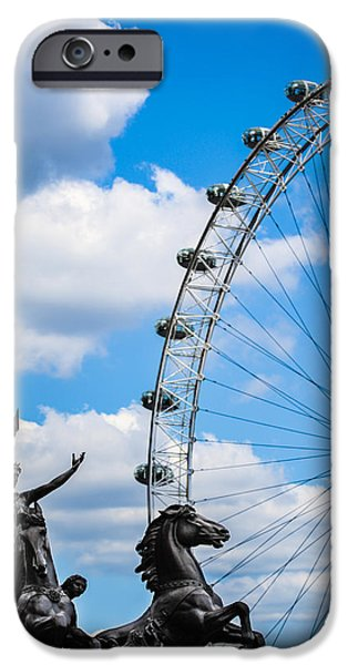 Briton iPhone Cases - The Statue of Boadicea standing in front of the London Eye in England iPhone Case by Nila Newsom