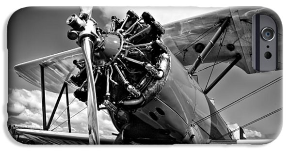 Monotone iPhone Cases - The Stearman Biplane iPhone Case by David Patterson