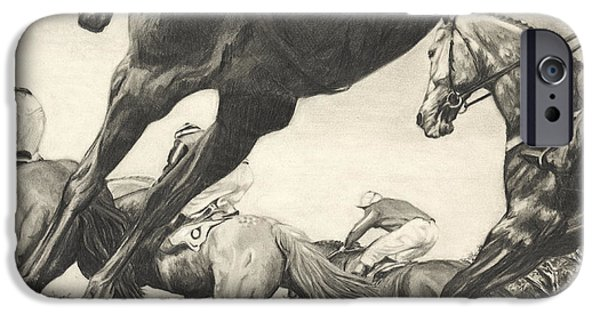 Horse Racing Drawings iPhone Cases - The Steeplechase iPhone Case by Sara Cuthbert