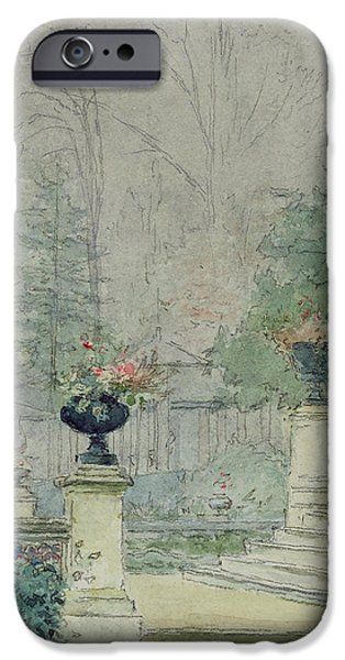 Garden iPhone Cases - The Steps of Les Fourneaux at Melun iPhone Case by Henri Rouart