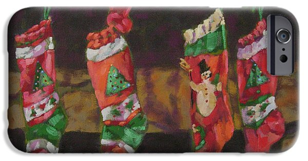 Christmas Eve Paintings iPhone Cases - The Stockings iPhone Case by Gloria  Nilsson