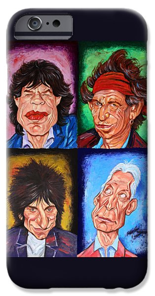 Legendary Music Singers iPhone Cases - The ROLLING STONES iPhone Case by Dan Haraga
