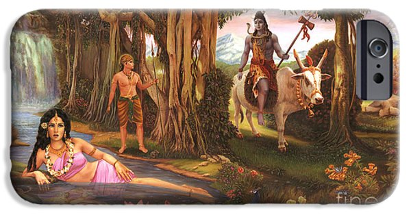 Parvati Paintings iPhone Cases - The Story of Ganesha iPhone Case by Vishnudas Art