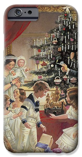 Christmas Eve Paintings iPhone Cases - The Story of the Christmas Tree iPhone Case by C L Doughty