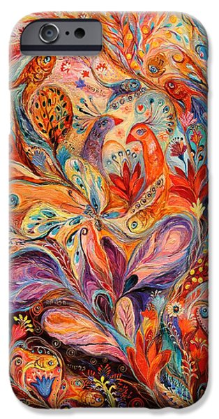 Judaica Prints Paintings iPhone Cases - The Story of Wild Iris iPhone Case by Elena Kotliarker