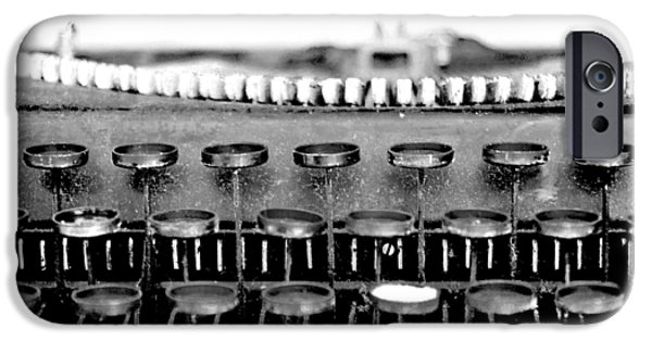 Typewriter Keys Photographs iPhone Cases - The Story Told BW iPhone Case by Angelina Vick