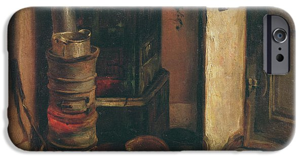 Coin iPhone Cases - The Stove Oil On Canvas iPhone Case by Ferdinand Victor Eugene Delacroix