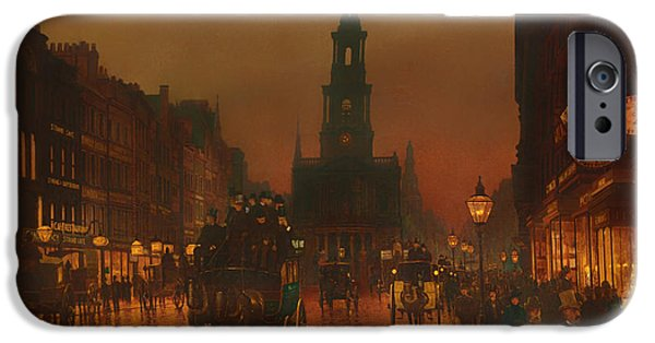 Concept Paintings iPhone Cases - The Strand - London 1899 iPhone Case by Grimshaw