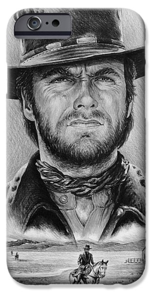 Celebrity Drawings iPhone Cases - The Stranger bw 1 version iPhone Case by Andrew Read