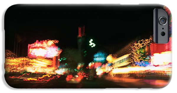 Interior Scene iPhone Cases - The Strip At Night, Las Vegas, Nevada iPhone Case by Panoramic Images
