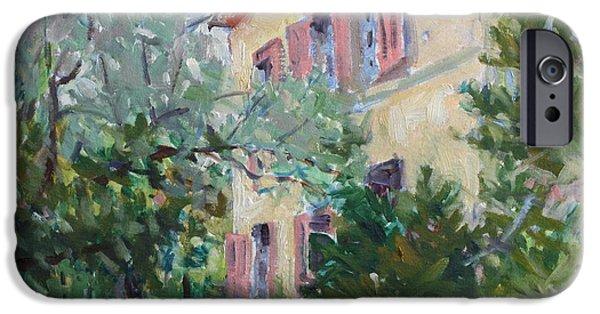 Garden Scene Paintings iPhone Cases - The Studio iPhone Case by Owen Hunt