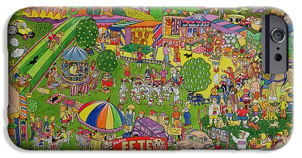 Village Photographs iPhone Cases - The Summer Fete, 1999 Wc On Paper iPhone Case by Tony Todd