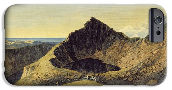 Wales iPhone Cases - The Summit Of Cader Idris Mountain, 1775 Engraving With Wc On Paper iPhone Case by Richard Wilson