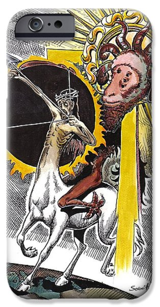 Swiss Mixed Media iPhone Cases - Tarot of the Apocalypse Tarot card The Sun iPhone Case by Magdalena Walulik