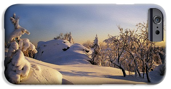 Snowy Day Digital Art iPhone Cases - The sunset iPhone Case by Aged Pixel