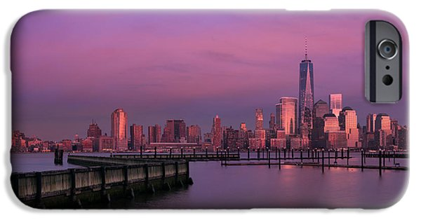 Hudson River iPhone Cases - The sunsets at One World Trade Center iPhone Case by Susan Candelario