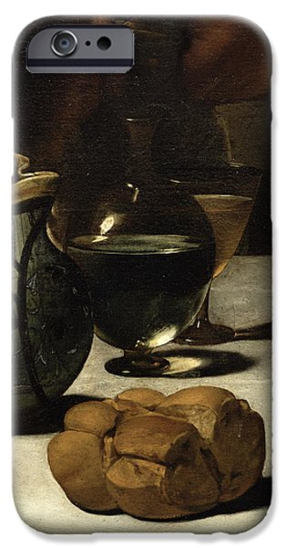 Miracle Photographs iPhone Cases - The Supper At Emmaus, 1601 Oil And Tempera On Canvas Detail Of 928 iPhone Case by Michelangelo Merisi da Caravaggio