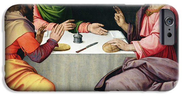 Jesus Photographs iPhone Cases - The Supper At Emmaus, C.1520 Oil On Canvas iPhone Case by Ridolfo Ghirlandaio