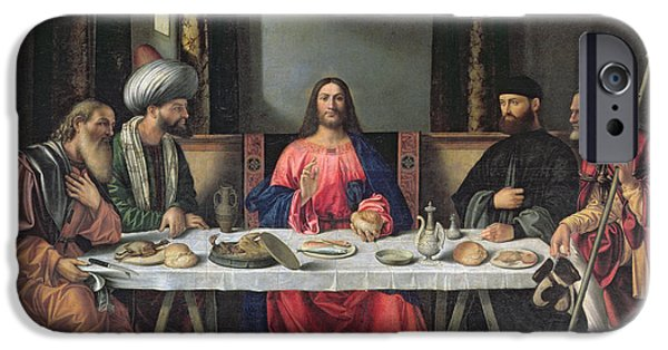The Followers Paintings iPhone Cases - The Supper at Emmaus iPhone Case by Vittore Carpaccio