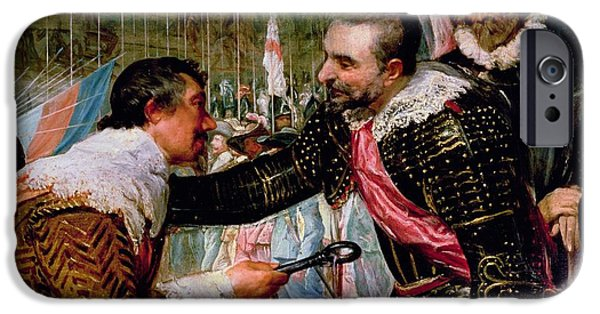 Humiliation iPhone Cases - The Surrender Of Breda 1625, Detail Of Justin De Nassau Handing The Keys Over To Ambroise Spinola iPhone Case by Diego Rodriguez de Silva y Velazquez