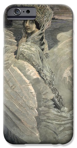 Swans... iPhone Cases - The Swan Princess, 1900 iPhone Case by Mikhail Aleksandrovich Vrubel