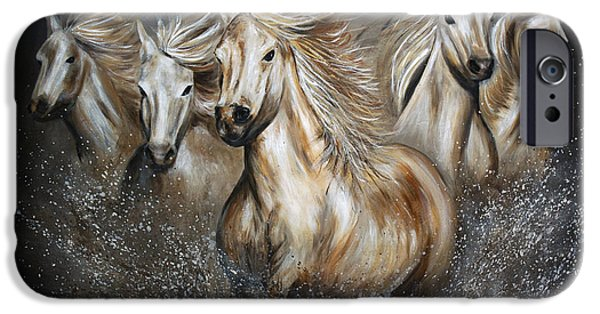 The Horse Paintings iPhone Cases - The Symphony iPhone Case by Teshia Art